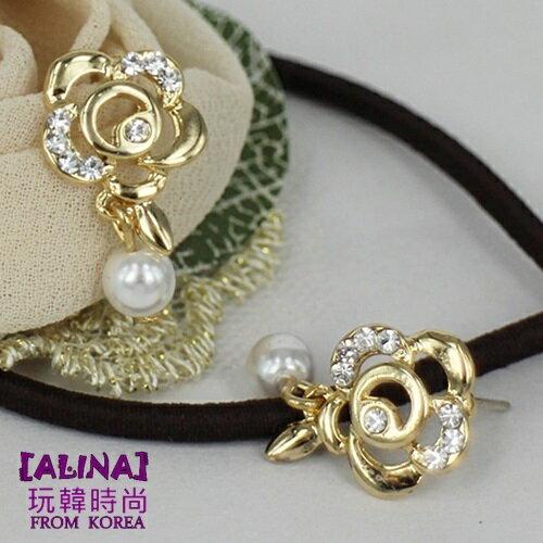 alina玩韓 正韓 韓國空運 鏤空 薔薇花鑲鑽佐珍珠華麗 耳環 925純銀耳針