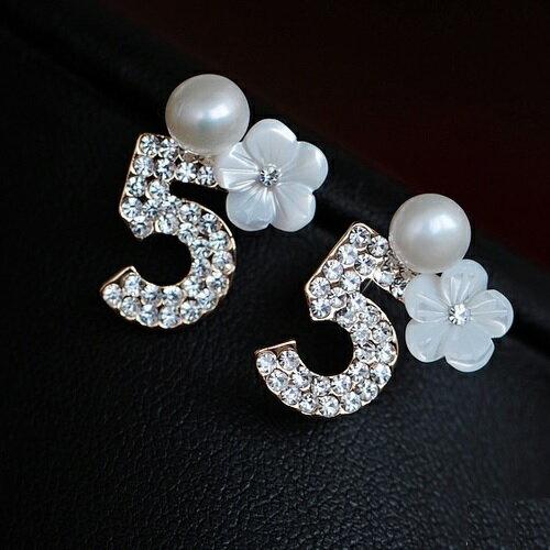 alina 玩韓時尚 正韓 奢華滿鑽第5大道珍珠鋯石時尚 耳環
