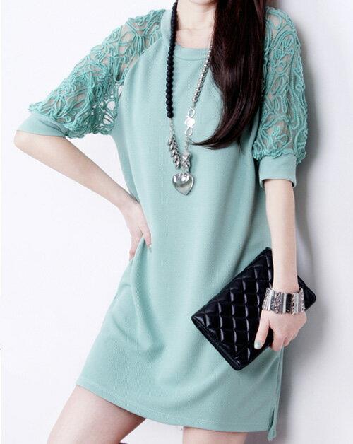 洋裝 - 蕾絲露肩五分袖長版上衣 【27009】藍色巴黎 《2色》現貨+預購 2