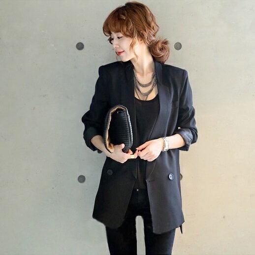 PS Mall 韓式風格修身通勤常規中長款OL西裝長袖外套【T2306】