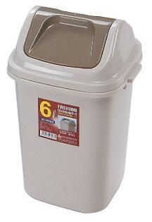 POLYWISE POLYWISE BI-5808 搖蓋時尚垃圾桶紙林-小(6L) 台灣製造 日式居家 米色配咖啡色