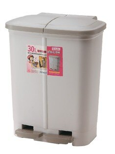 POLYWISE BI-5682 環保分類腳踏垃圾桶 30L 超大容量 綠色家具 ECO 台灣製造 米色