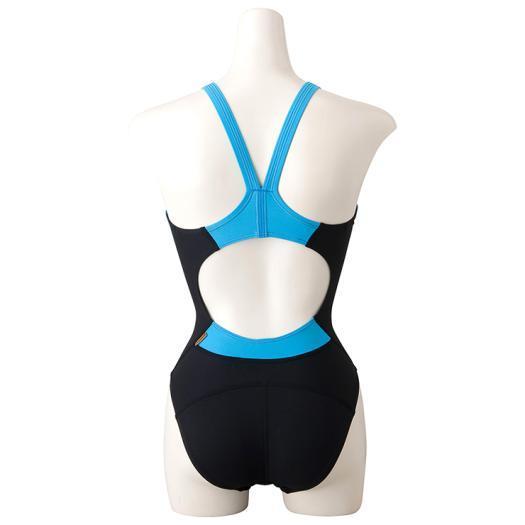 [陽光樂活]MIZUNO  美津濃 EXER SUITS 女 泳衣 U-FIT 中叉 N2MA576092 (黑X淺藍)