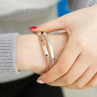 PS Mall 韓版 相信自己正能量手環 英文字母 玫瑰金手環 銀色手環【G1928】