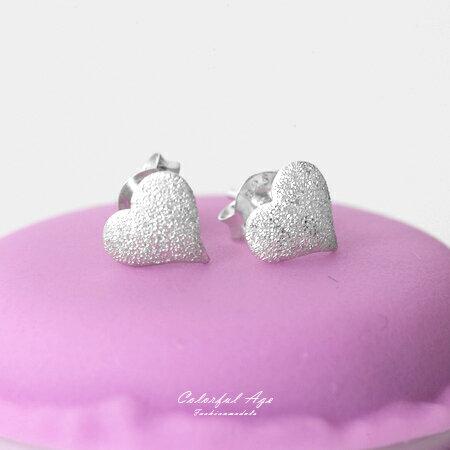 925純銀耳針耳環 可愛甜美立體愛心霧砂耳環 抗過敏抗氧化 柒彩年代【NPD13】一對價格 0