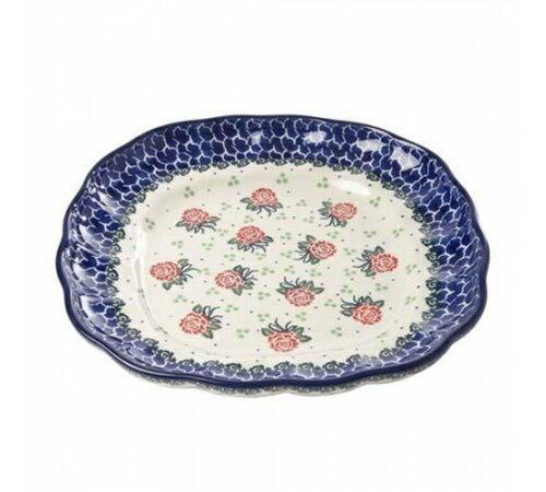 【預購】Polish Pottery波蘭陶- 可愛24CM可愛花邊方形大盤-清新玫瑰花 0