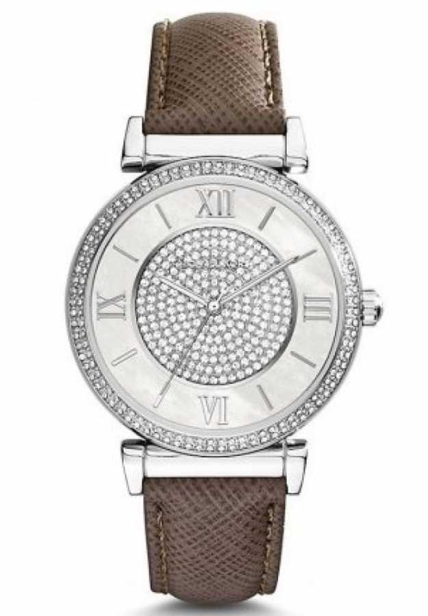 美國Outlet 正品代購 MichaelKors MK 銀鑲鑽 深咖色皮帶三環計時手錶腕錶 MK2377 1