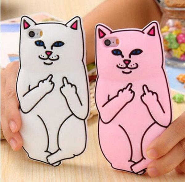 50%OFF【R019524PC】中指貓口袋賤貓iphone6s7矽膠套手機殼蘋果67plus全包5s軟殼