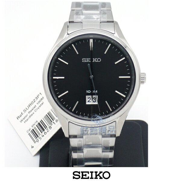【錶飾精品】SEIKO手錶 精工表 黑面 大視窗日期 防水男錶SUR023生日禮物 原廠正品 SUR023P1 全新