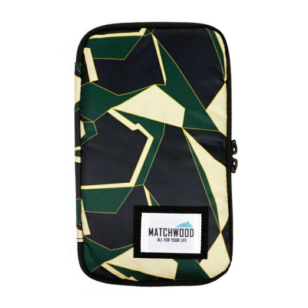 REMATCH - Matchwood Universal 護照包 綠色幾何迷彩款 護照夾 長夾 機票證件收納包 Herschel / Supreme / HEADPORTER 可參考