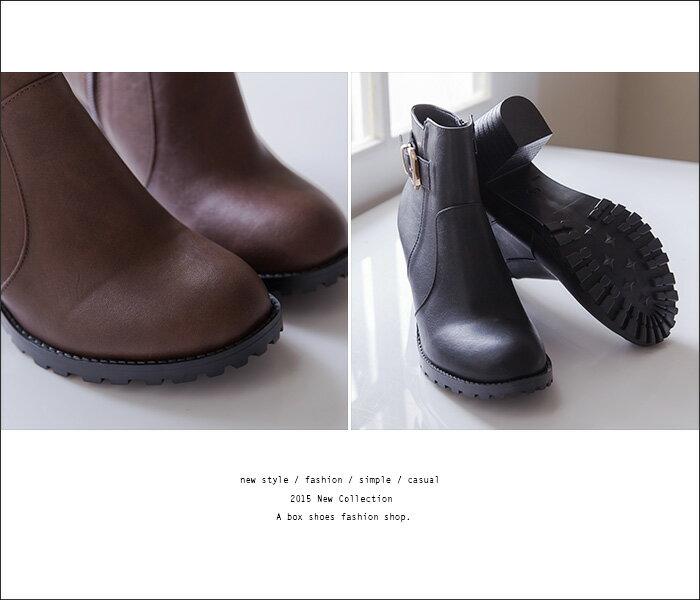 格子舖*【KW2194】MIT台灣製 嚴選韓版絕美女神 質感皮革 拉鍊粗高跟金屬短靴 馬丁靴 2色 2
