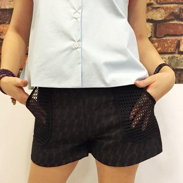 網紗口袋造拼接格紋短褲