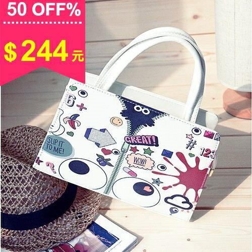 手提包-韓版繽紛印花大眼睛手提包 斜背包 包飾衣院 P1653 現貨