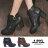 格子舖*【KW6686】MIT台灣製 交叉帶皮革金屬釦環 側拉鍊穿拖 7CM粗高跟短靴 馬丁靴 2色 0