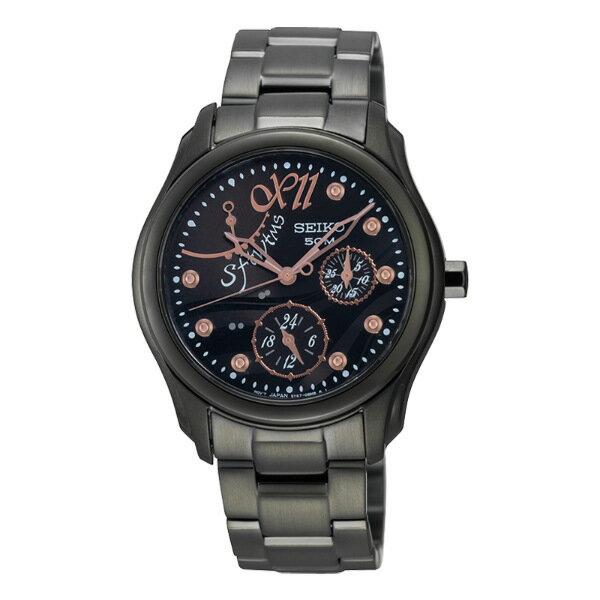 Seiko Spirit 5Y67-0BC0SD(SPA763P1)黑金多功能顯示腕錶/黑面35mm