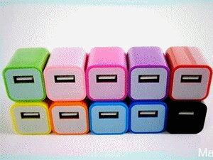 ☆足1A優質版☆ USB充電頭 馬卡龍彩色豆腐方塊 Power Adapter 5V 1A 迷你充電器 小綠點 蘋果手機 三星 HTC 變壓器 iphone ipod