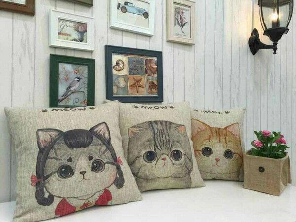 宜家棉麻抱枕靠墊可愛卡通動物簡約貓時尚汽車沙發靠墊創意靠枕