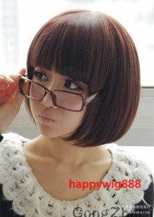 **送髮網*頂級高溫絲~可燙!!齊劉海鮑伯頭~可愛BOBO超萌短髮 全頂式假髮 8807