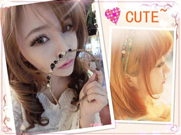 HAPPYWIG╭*韓國 巴洛克宮廷風水彩色水晶水鑽髮箍復古寶石髮夾髮箍