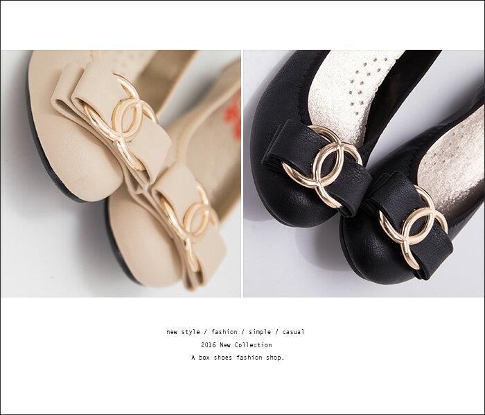 格子舖*【AB116】MIT台灣製 基本款氣質典雅蝴蝶結 舒適柔軟豆豆鞋 圓頭包鞋 3色 2