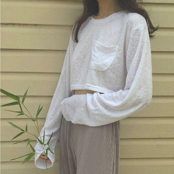 50%OFF【G016724C】(實拍)白色口袋短款T-長袖T洋裝羽絨外套針織衫毛衣禮服大學t