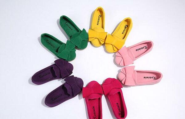 蝴蝶結絨面卷卷蝴蝶結女童單鞋公主鞋豆豆鞋