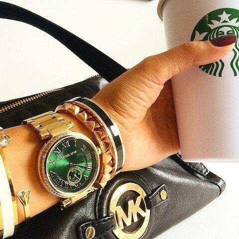 美國Outlet正品代購 MichaelKors MK 復古羅馬鑲鑽馬腦綠  陶瓷  三環 手錶 腕錶 MK6065 6