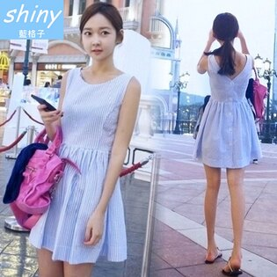 【V0843】shiny藍格子-甜夏設計.條紋後背V領排扣背心連身洋裝
