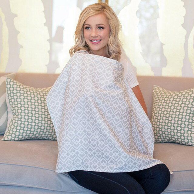 美國【Mothers Lounge】美型哺乳巾 (淺灰窗格) - 限時優惠好康折扣