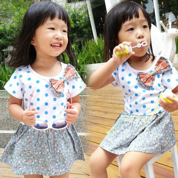 【班比納精品童裝】點點鄉村碎花洋裝 長版衣-白【BO150402036】