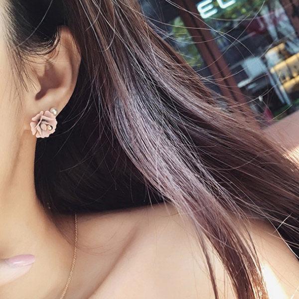 PS Mall 耳釘 3個一組 不對稱甜美 立體花朵耳釘 耳環~G1953~