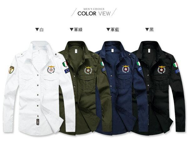 ☆BOY-2☆【NZ77002】美式電繡男裝軍襯衫 1