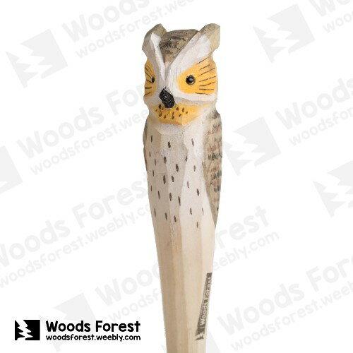 木雕森林 Woods Forest - 手工動物木雕筆【貓頭鷹】( 筆質量輕;握筆輕鬆舒適;滑順好寫,用完可替換,實用且經濟!)