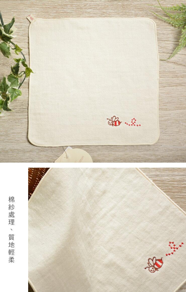 日本今治 - ORUNET - 刺繡手帕(蜂)《日本設計製造》《全館免運費》,有機棉,有機棉來自3年以上無化學肥料&無農藥之土地,生產階段亦無使用任何藥劑、無漂白、無染色,採用最純淨的有機棉製作最天然安心的產品。