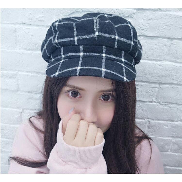 貝雷帽 畫家帽 格紋 八角帽 遮陽 貝雷帽【QI8509】 BOBI  09/01 1