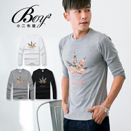 ☆BOY-2☆【PPK86135】休閒燙金大麻葉印花長T 0