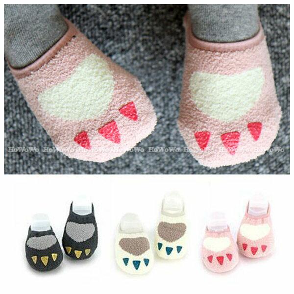 厚款童襪 寶寶襪 小爪子珊瑚絨短襪 嬰兒襪 防滑襪 船型襪 0-4歲 CA1762