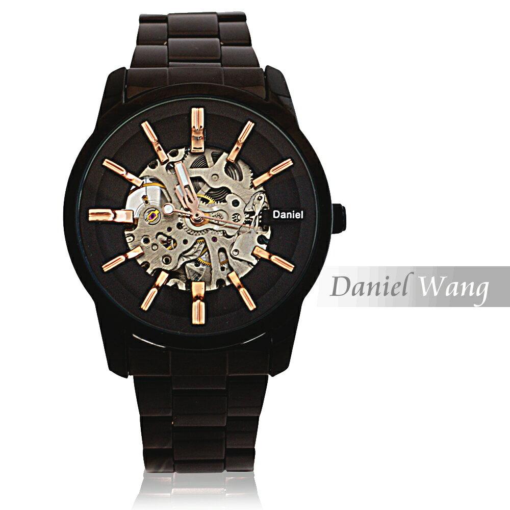 Daniel Wang DW-3142-IP 絢麗閃電雙面鏤空指針式全自動機械錶 4