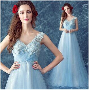 天使嫁衣【AE293】水藍色V領飄紗小拖尾晚禮服˙預購訂製款