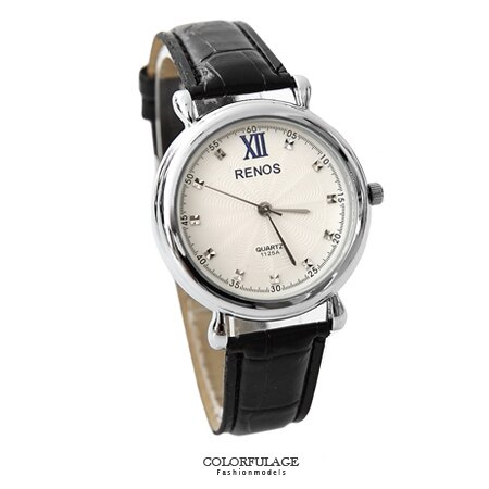 手錶 簡約風格奧地利水鑽刻度質感皮革錶帶手錶 秒刻設計 情侶對錶 柒彩年代【NE1557】單支售價 0