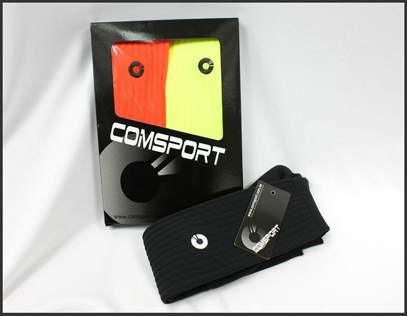Comsport *彈性足球組合襪*-三色(黃橘黑) 1