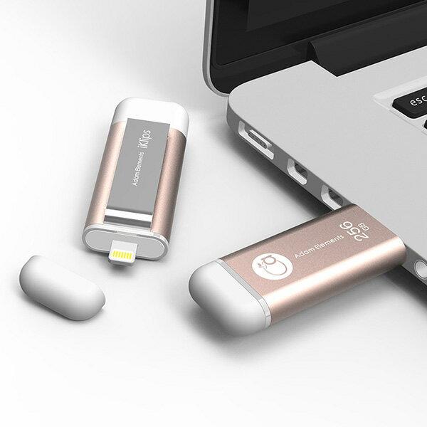 【亞果元素】iKlips iOS系統專用USB 3.0極速多媒體行動碟 256GB 玫瑰金 1