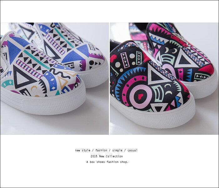 格子舖*【AS893】個性超值繽紛撞色幾何圖騰 增高厚底鬆糕鞋 懶人鞋 帆布鞋 3色 2