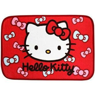 【敵富朗超巿】Kitty蝴蝶結絨毛地毯-紅