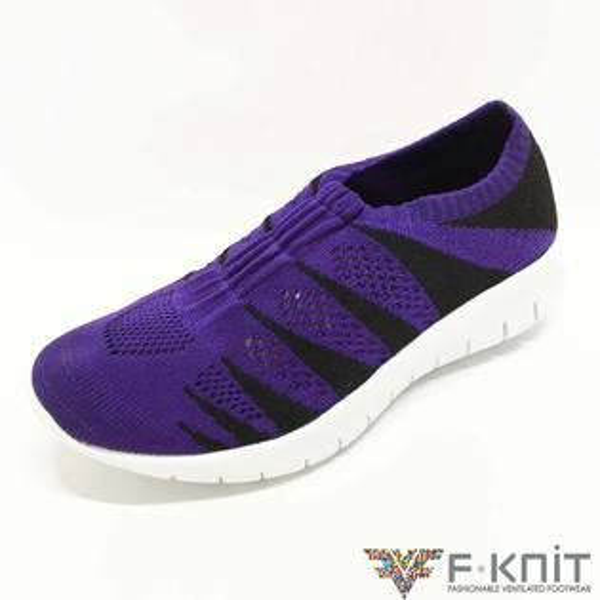 【FKNIT時尚】魚骨*淑女編織娃娃鞋-黑紫