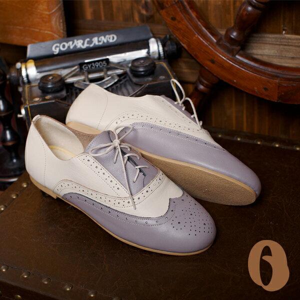 Betel Life 檳榔葉包鞋-牛津手工皮鞋(灰米白拼接) 經典雕花 英倫復古
