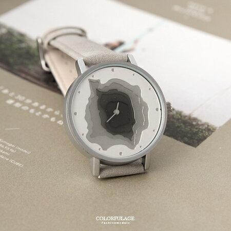 手錶 無數字漸層凹面地形造型質感皮革錶帶腕錶 巧思特別設計 柒彩年代【NE1683】獨特有型 - 限時優惠好康折扣