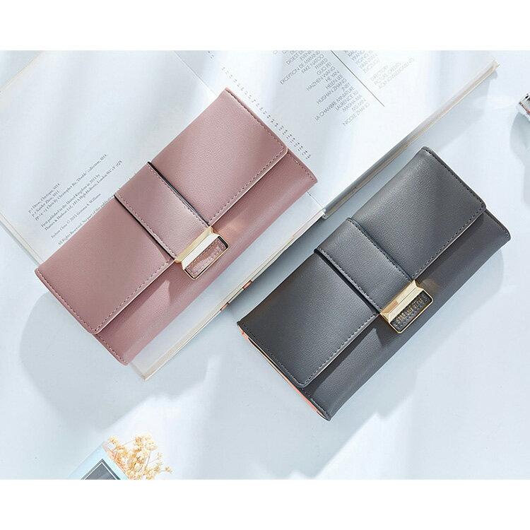 長夾 氣質金屬釦皮夾卡包錢包長夾【WN511-50】 BOBI  12/01 1