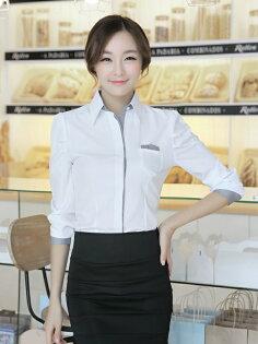 OL襯衫 女 上班族襯衫 素面襯衫 2015 最新好看的韓版 修身 公主袖