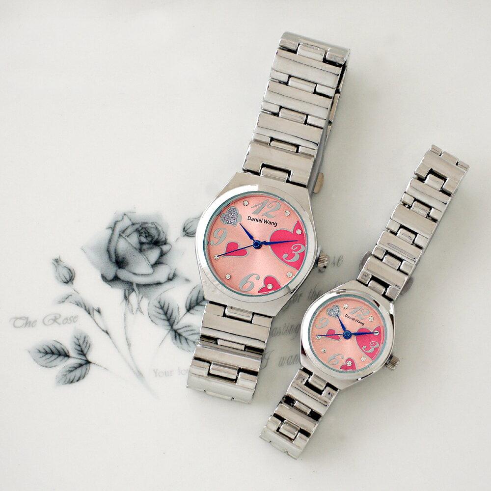 Daniel Wang 3145 浪漫愛心亮鑽刻度銀色鐵帶對錶 1